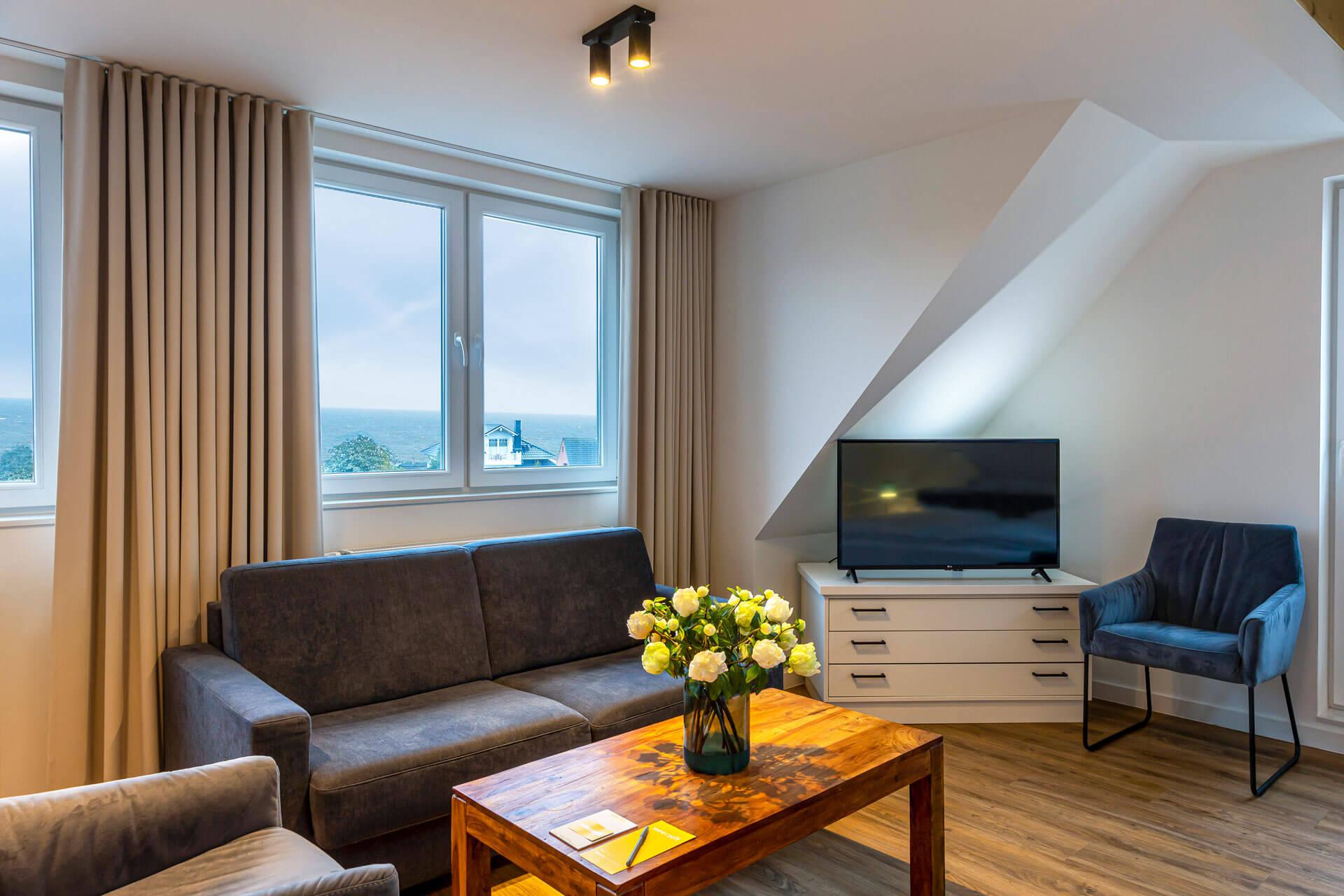 Hotel-Meerzeit-Doppelzimmer Deluxe_Wohnbereich